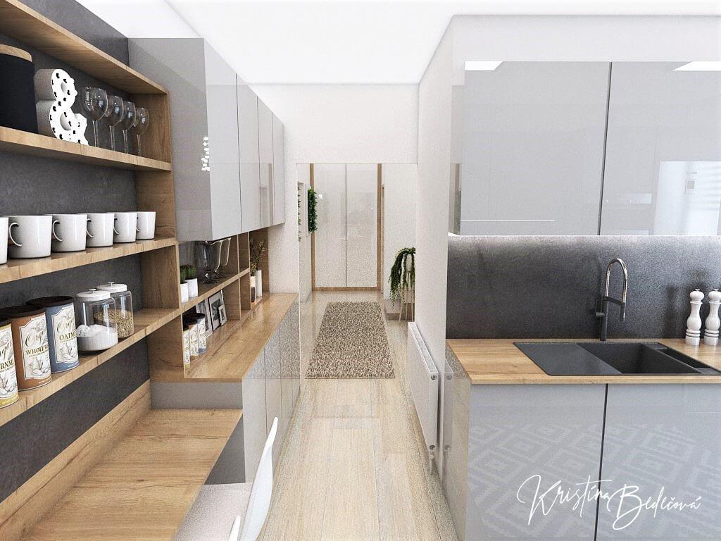 Návrh interiéru kuchyne Malá, no veľká zároveň, pohľad na vstup do kuchyne