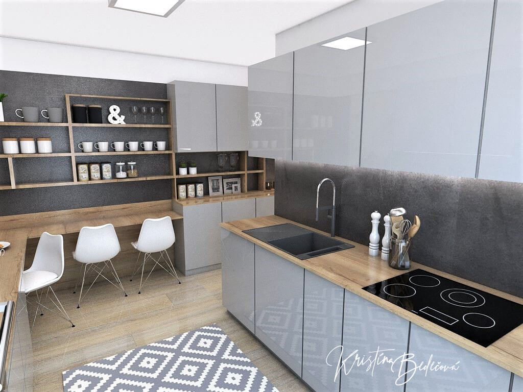 Návrh interiéru kuchyne Malá, no veľká zároveň, pohľad smerom k vstupu do kuchyne