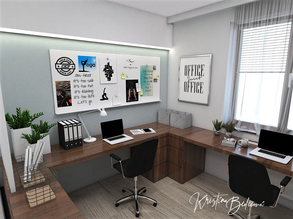 Návrh interiéru pracovne Keď práca teší, pohľad na pracovnú časť