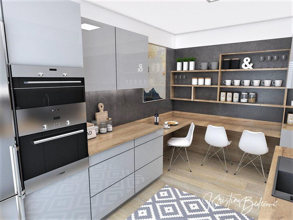 Návrh interiéru kuchyne Malá, no veľká zároveň, pohľad na kuchynské sedenie