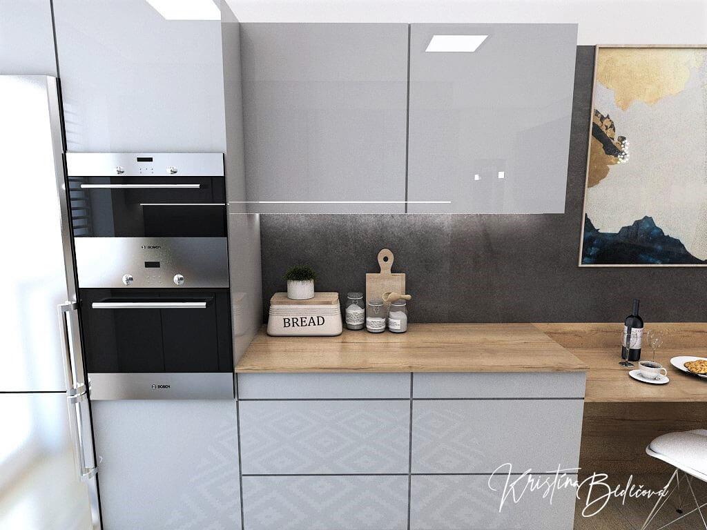 Návrh interiéru kuchyne Malá, no veľká zároveň, pohľad na skriňu so vstavanými spotrebičmi