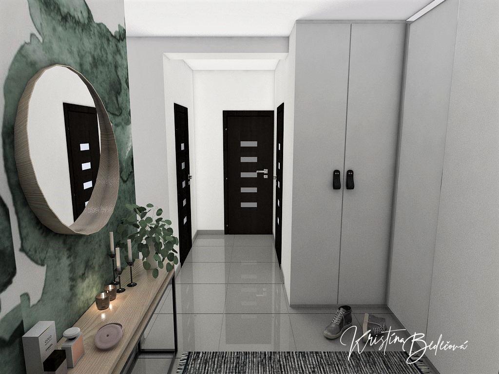 Dyzajn bytu s nádychom industrializmu, druhý pohľad zo vstupných dverí do bytu