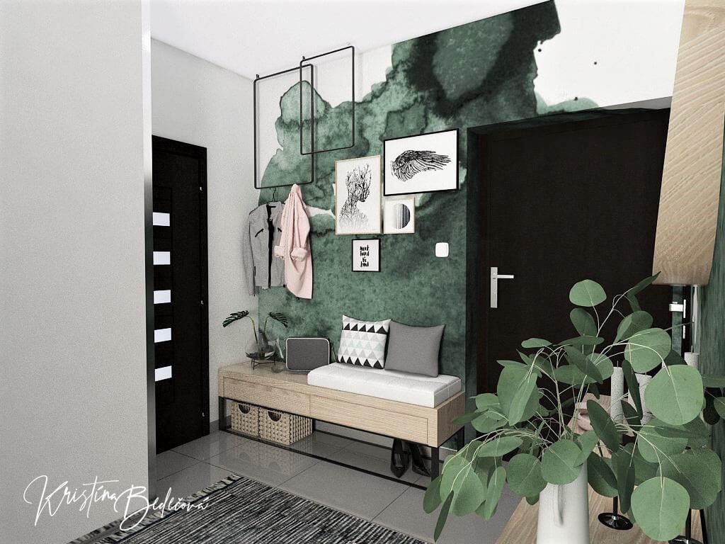 Dyzajn bytu s nádychom industrializmu, pohľad na vstupné dvere bytu z chodby