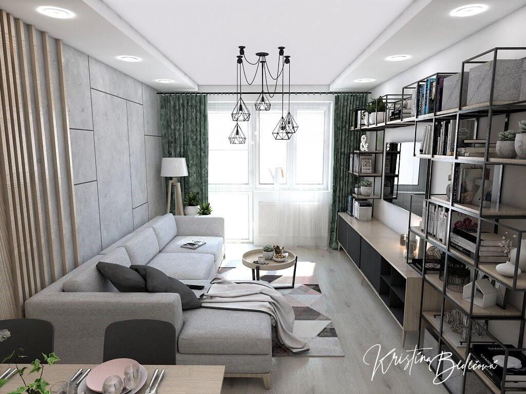 Dyzajn bytu s nádychom industrializmu, pohľad na obývačku