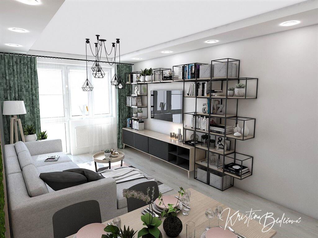 Dyzajn bytu s nádychom industrializmu, pohľad do obývačky z jedálenského stola