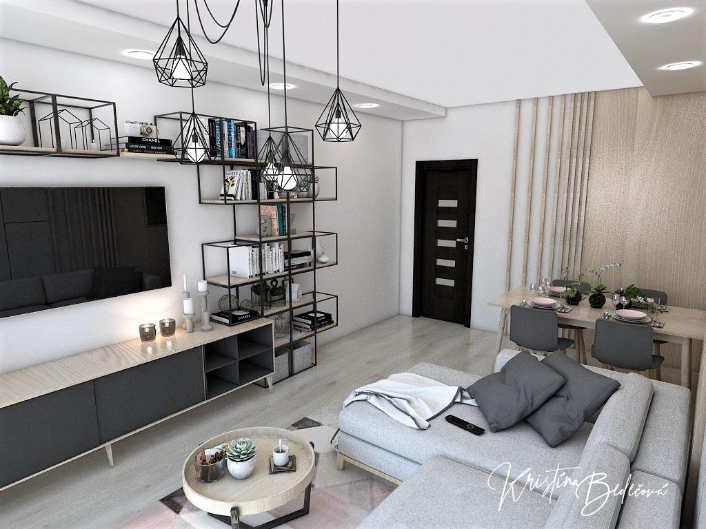 Dyzajn bytu s nádychom industrializmu, pohľad na vstup do chodby zo sedačky obývačky