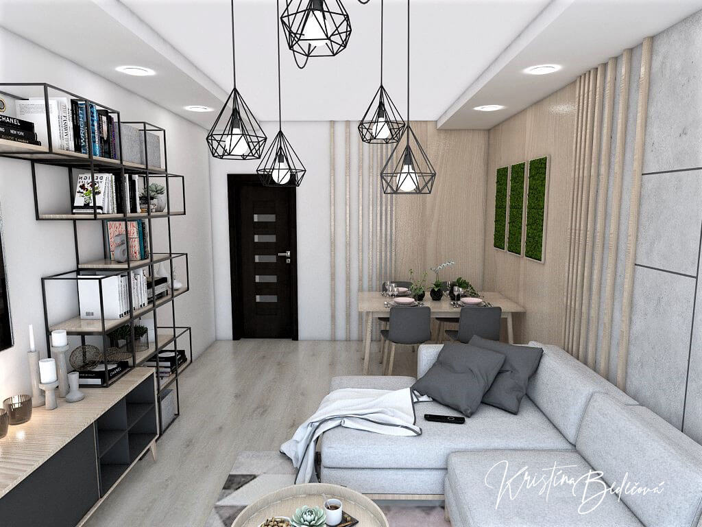 Dyzajn bytu s nádychom industrializmu, pohľad na vstup do chodby z obývačky