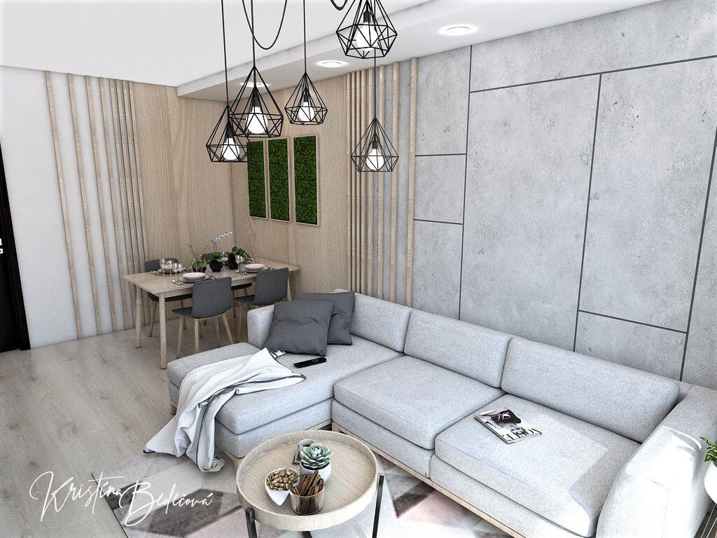 Dyzajn bytu s nádychom industrializmu, pohľad na sedačku v obývačke