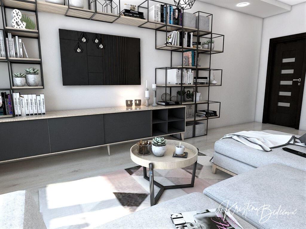 Dyzajn bytu s nádychom industrializmu, pohľad na TV zo sedačky obývačky