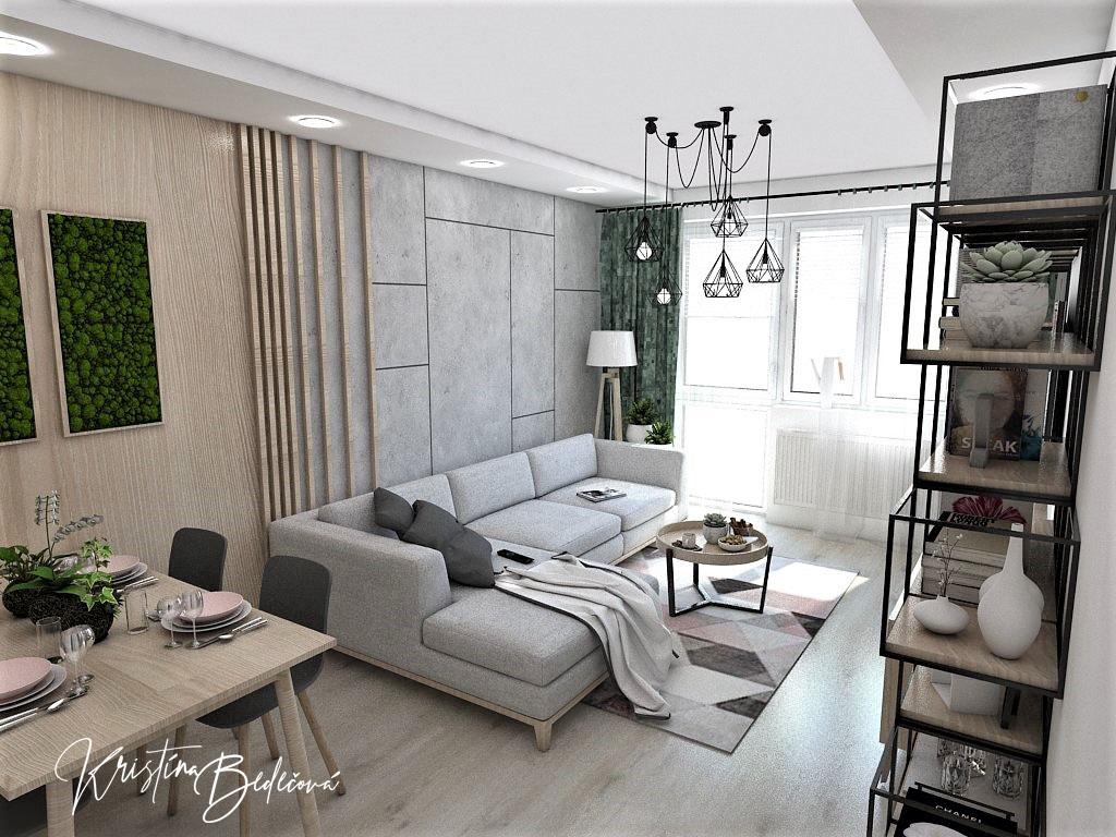 Dyzajn bytu s nádychom industrializmu, pohľad na obývačku z kuchyne