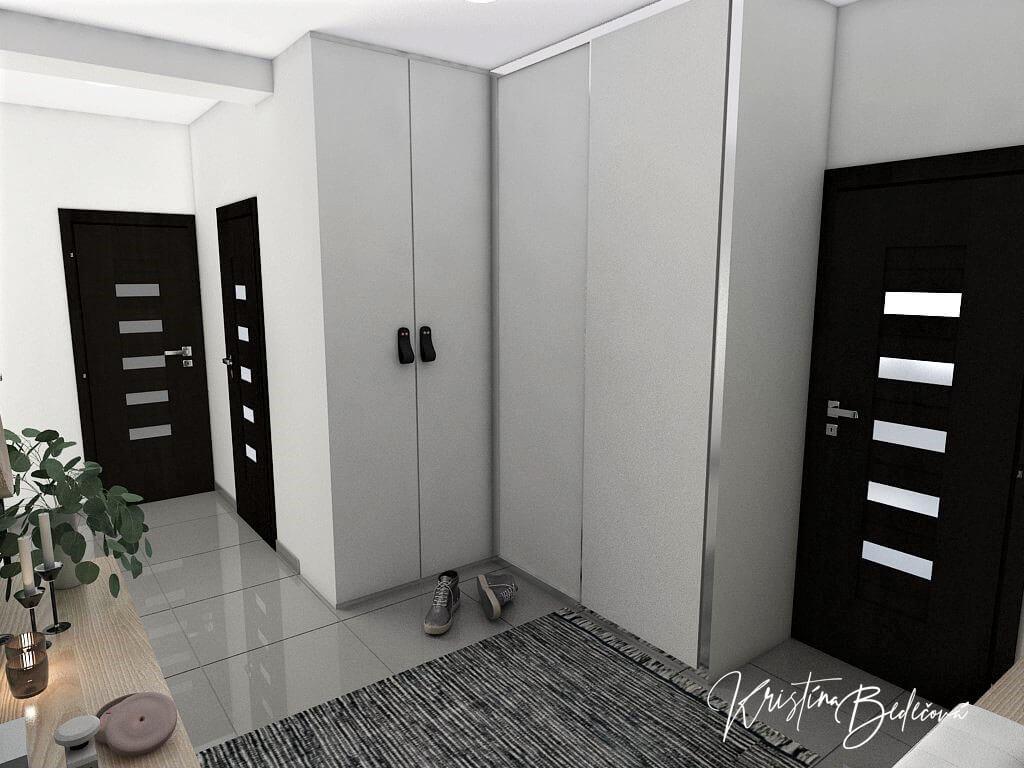 Dyzajn bytu s nádychom industrializmu, pohľad zo vstupných dverí do bytu