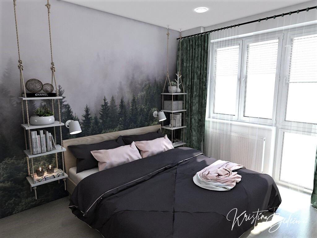 Dyzajn bytu s nádychom industrializmu, pohľad na manželskú posteľ spáľne s oknom