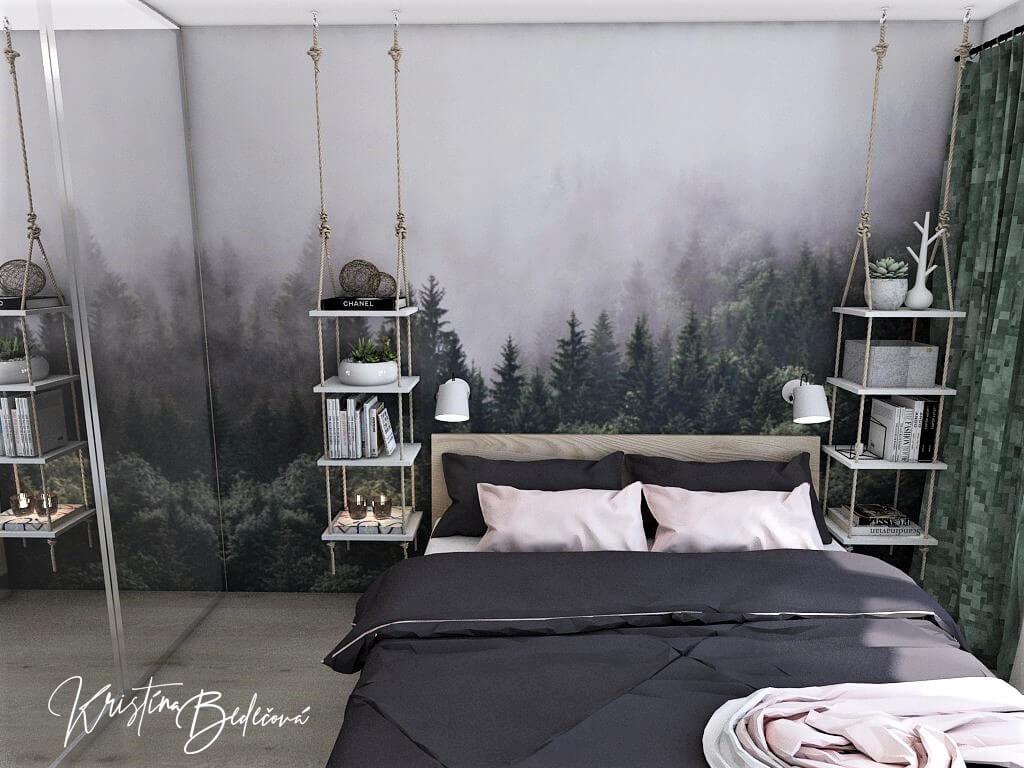 Dyzajn bytu s nádychom industrializmu, pohľad od steny na manžeľskú posteľ spálne