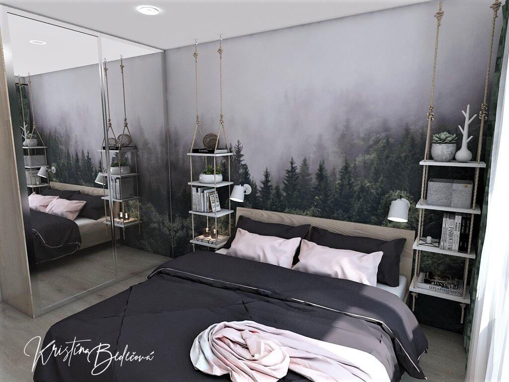 Dyzajn bytu s nádychom industrializmu, pohľad z rohu spáľne na manželskú posteľ