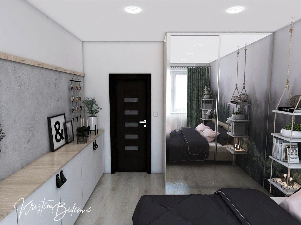 Dyzajn bytu s nádychom industrializmu, druhý pohľad na vstup do spáľne