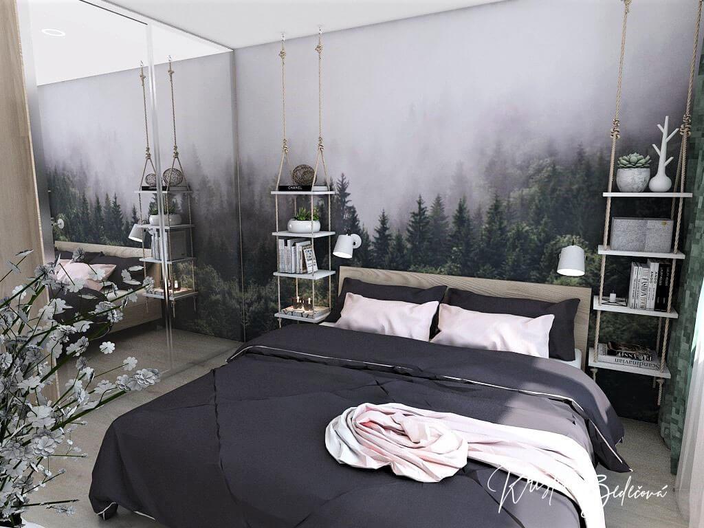 Dyzajn bytu s nádychom industrializmu, pohľad na manželskú posteľ spáľne