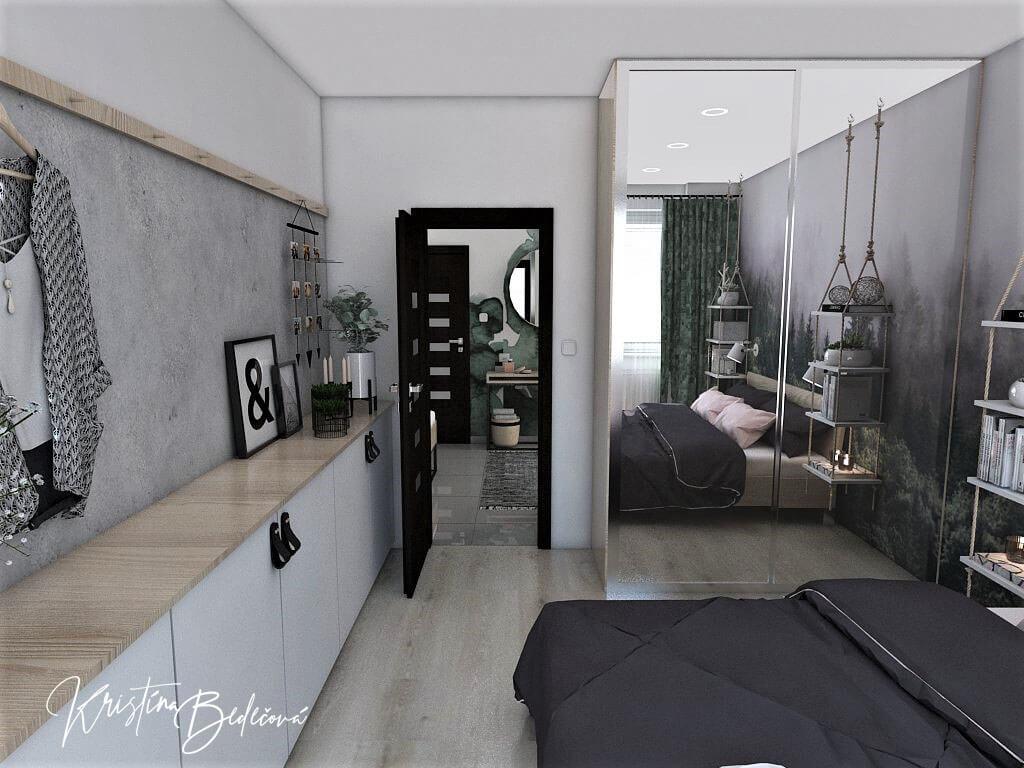 Dyzajn bytu s nádychom industrializmu, pohľad na vstup do spáľne