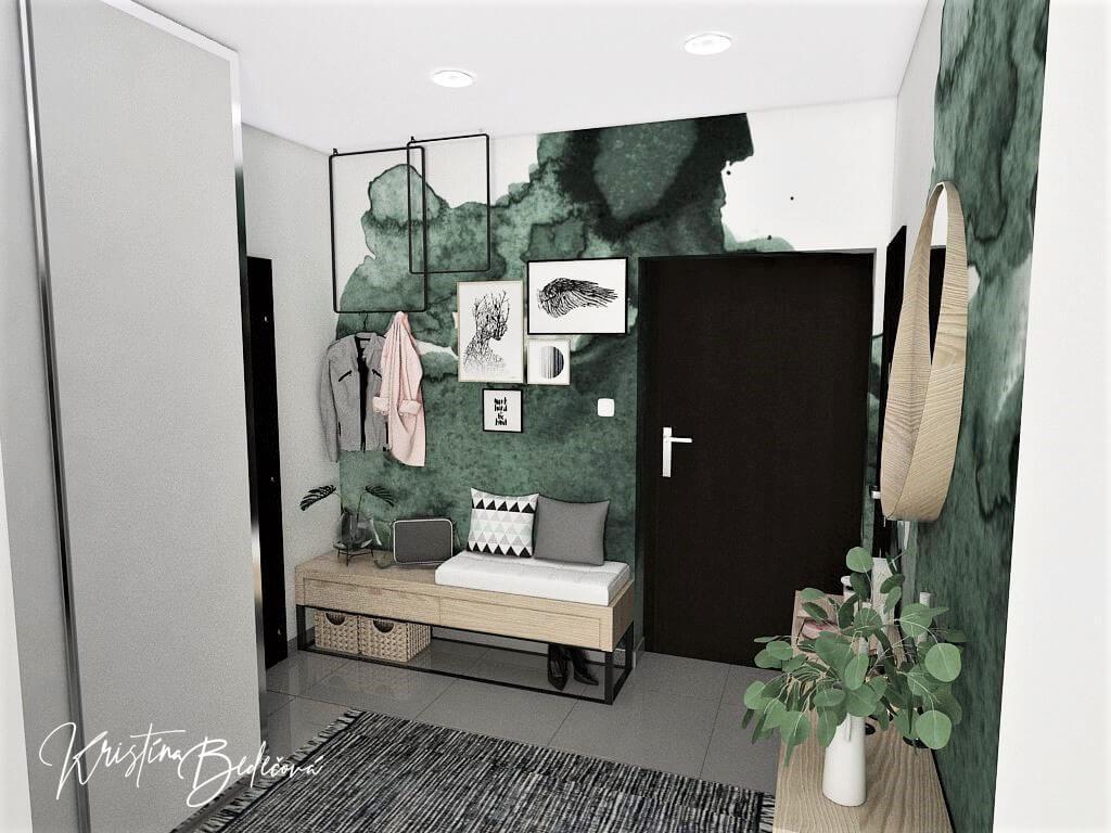 Dyzajn bytu s nádychom industrializmu, pohľad na vstupné dvere do chodby na posedenie