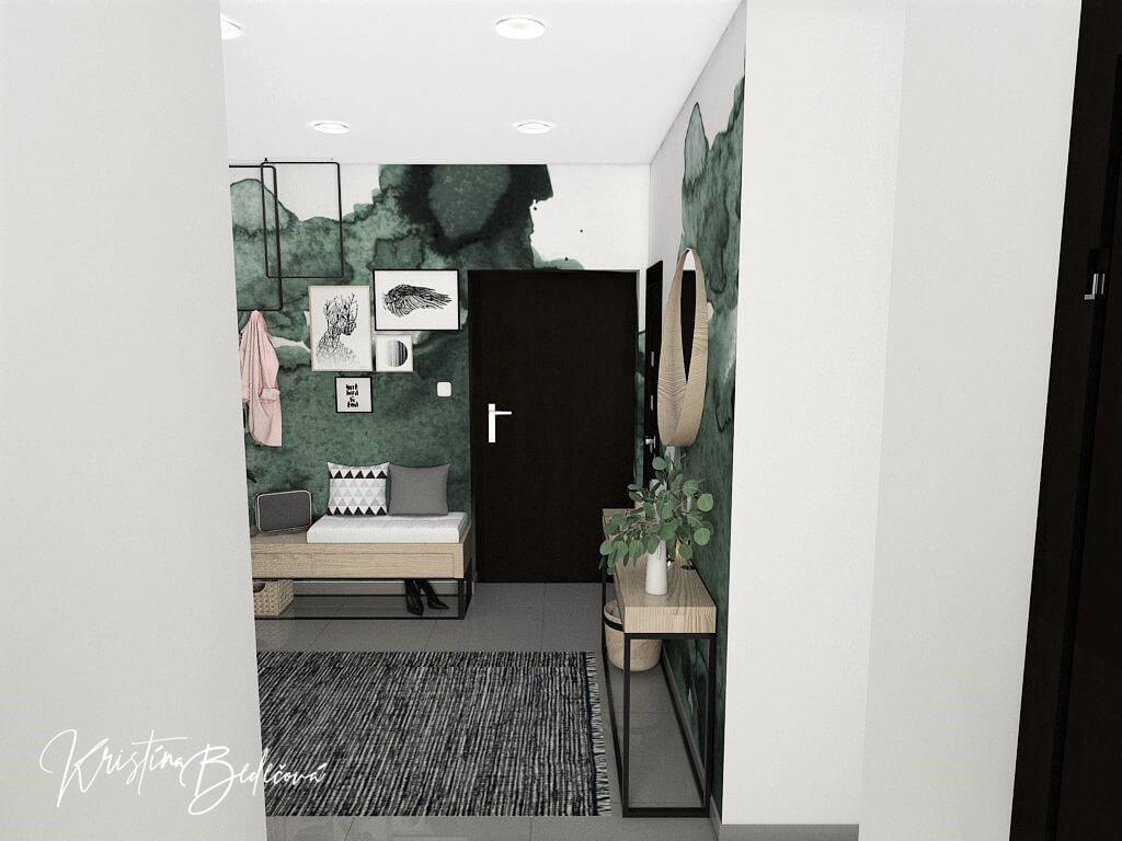 Dyzajn bytu s nádychom industrializmu, pohľad na vstupné dvere do chodby