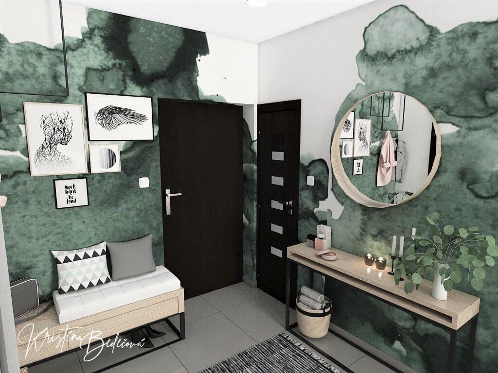 Dyzajn bytu s nádychom industrializmu, pohľad na vstupné dvere do chodby zo zrkadlom