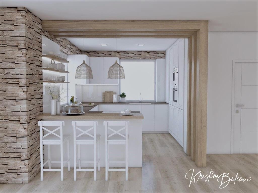 Dizajn kuchyne s rustikálnym nádychom, pohľad na barový pult a kuchyňu