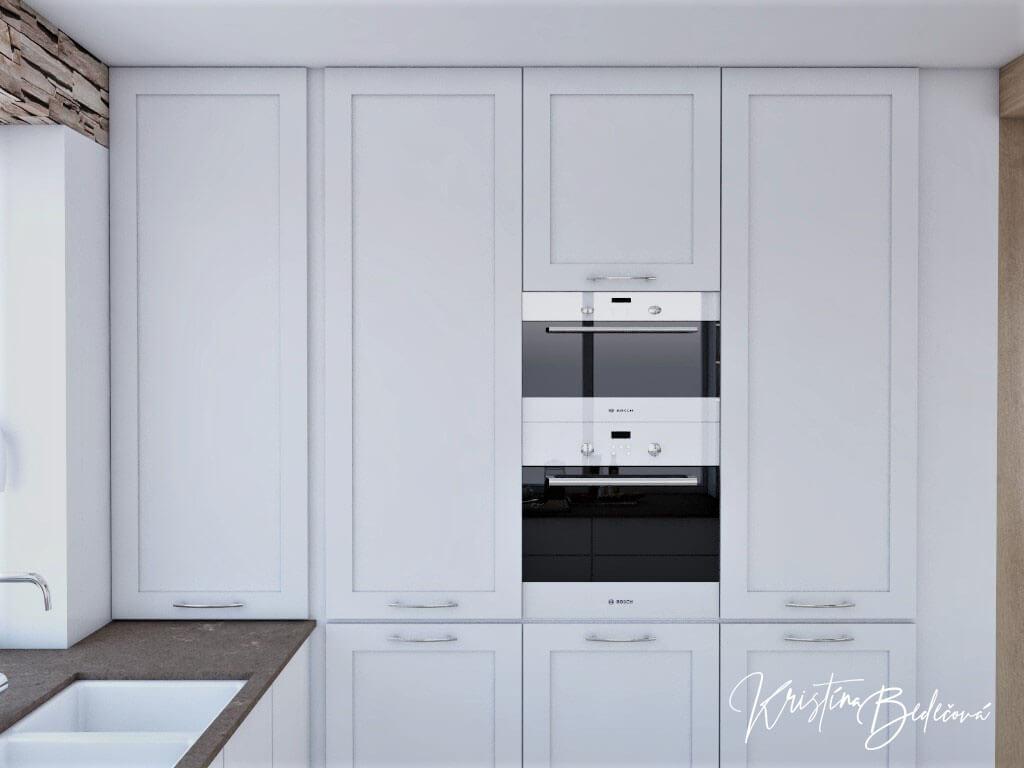 Dizajn kuchyne s rustikálnym nádychom, pohľad potravinové skrine kuchyni