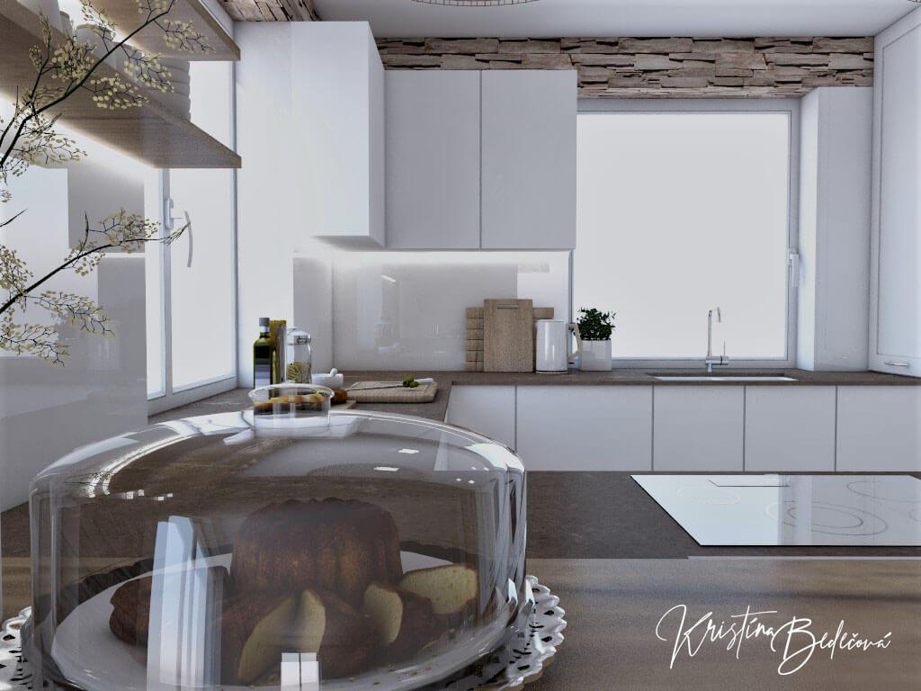 Dizajn kuchyne s rustikálnym nádychom, pohľad z barového pultu do kuchyne