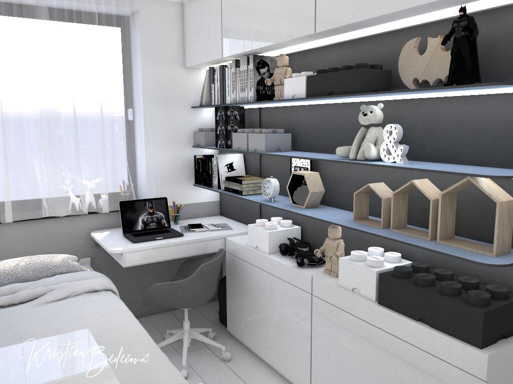 Dizajn interiéru detskej izby Batmanova skrýša pohľad z rochu izby