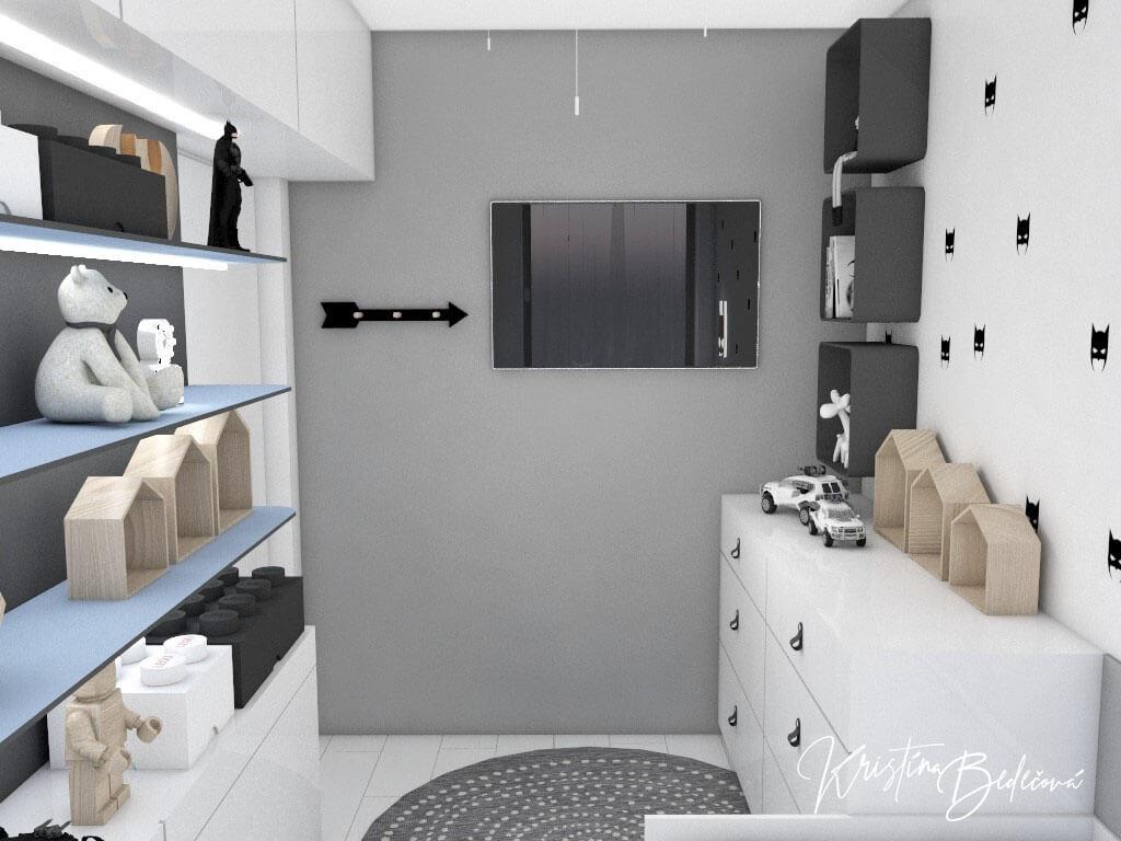 Dizajn interiéru detskej izby Batmanova skrýša pohľad na TV cez izbu