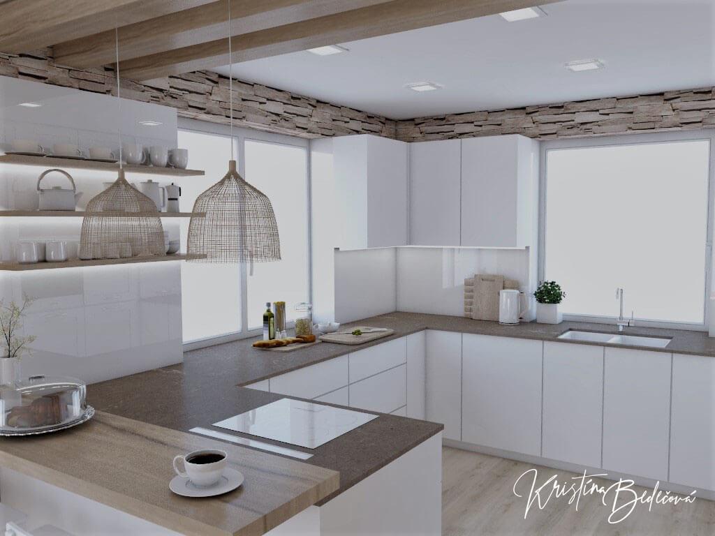 Dizajn kuchyne s rustikálnym nádychom, pohľad zo vstupu do kuchyne