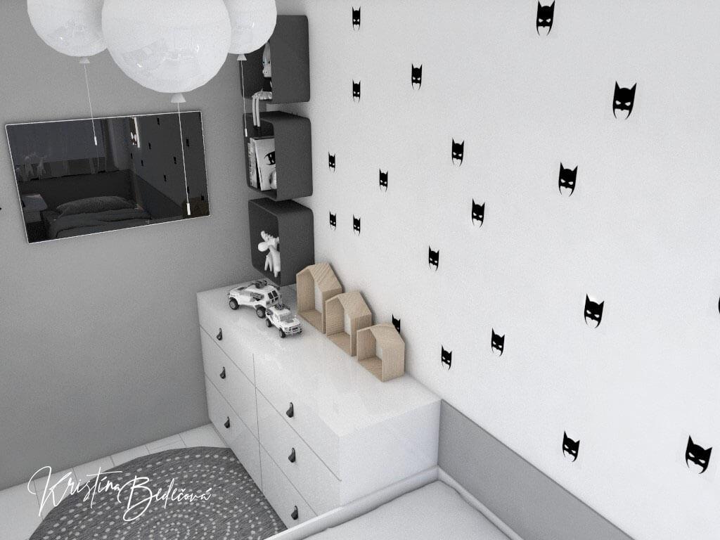 Dizajn interiéru detskej izby Batmanova skrýša pohľad na TV