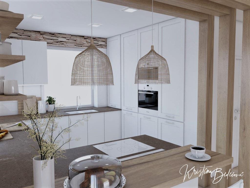 Dizajn kuchyne s rustikálnym nádychom, pohľad z barového pultu