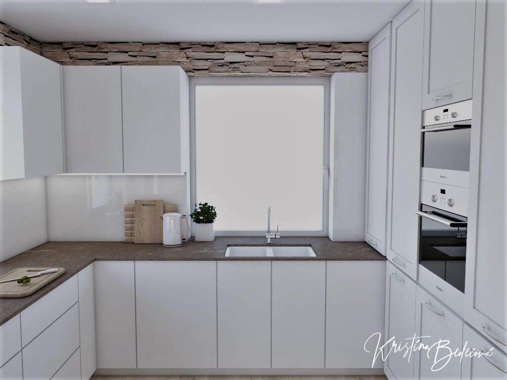 Dizajn kuchyne s rustikálnym nádychom, pohľad na kuchynskú linku