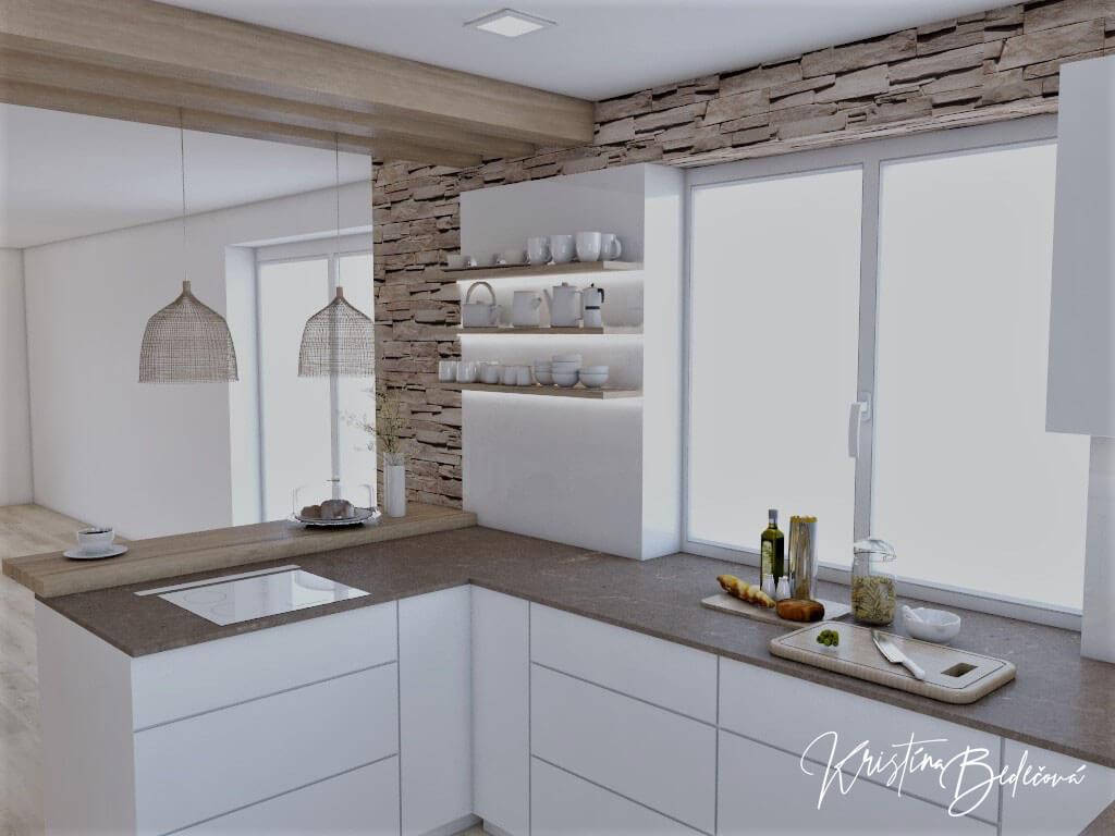 Dizajn kuchyne s rustikálnym nádychom, pohľad na kuchynskú linku a barový pult