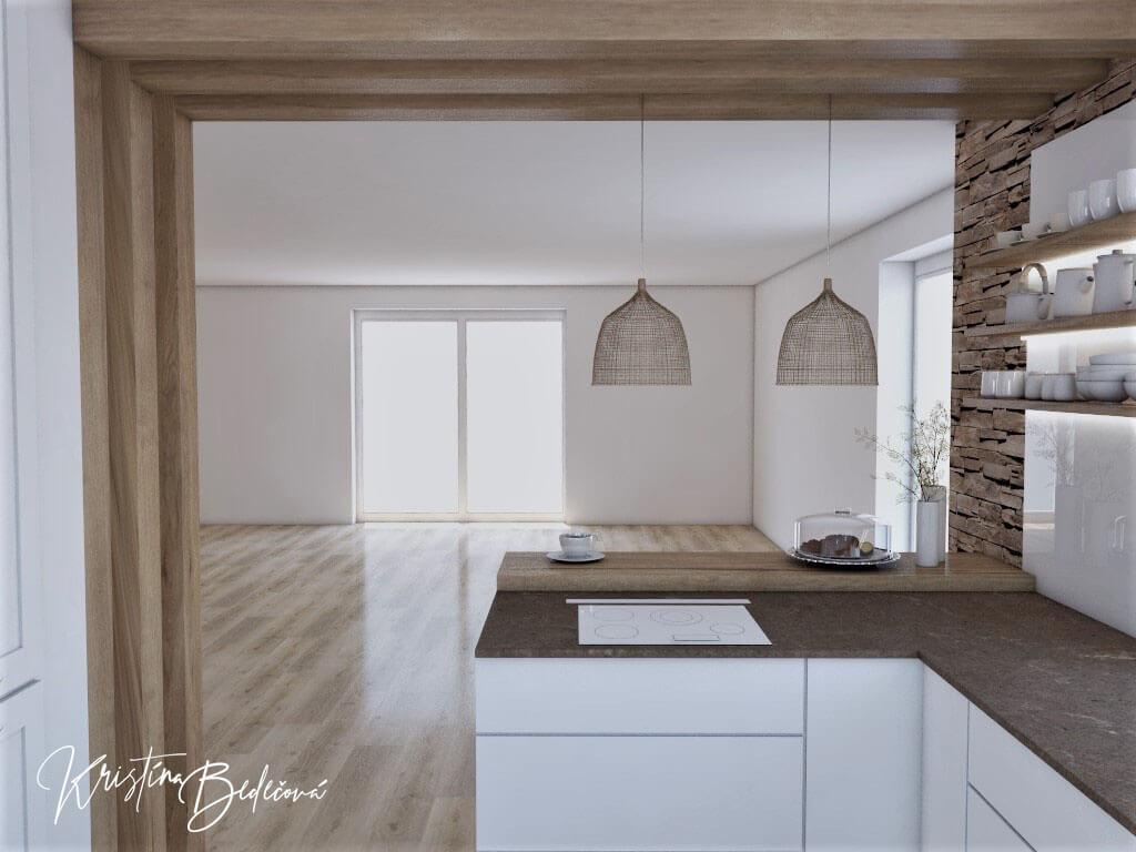 Dizajn kuchyne s rustikálnym nádychom, pohľad z kuchyne do priestoru budúcej obývačky