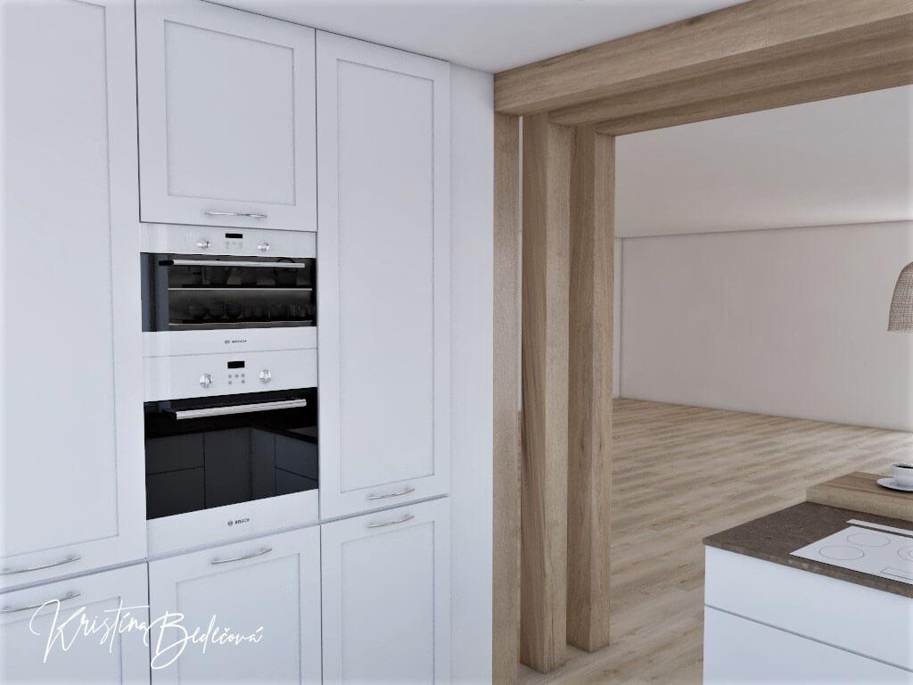Dizajn kuchyne s rustikálnym nádychom, pohľad na spotrebiče v kuchyni