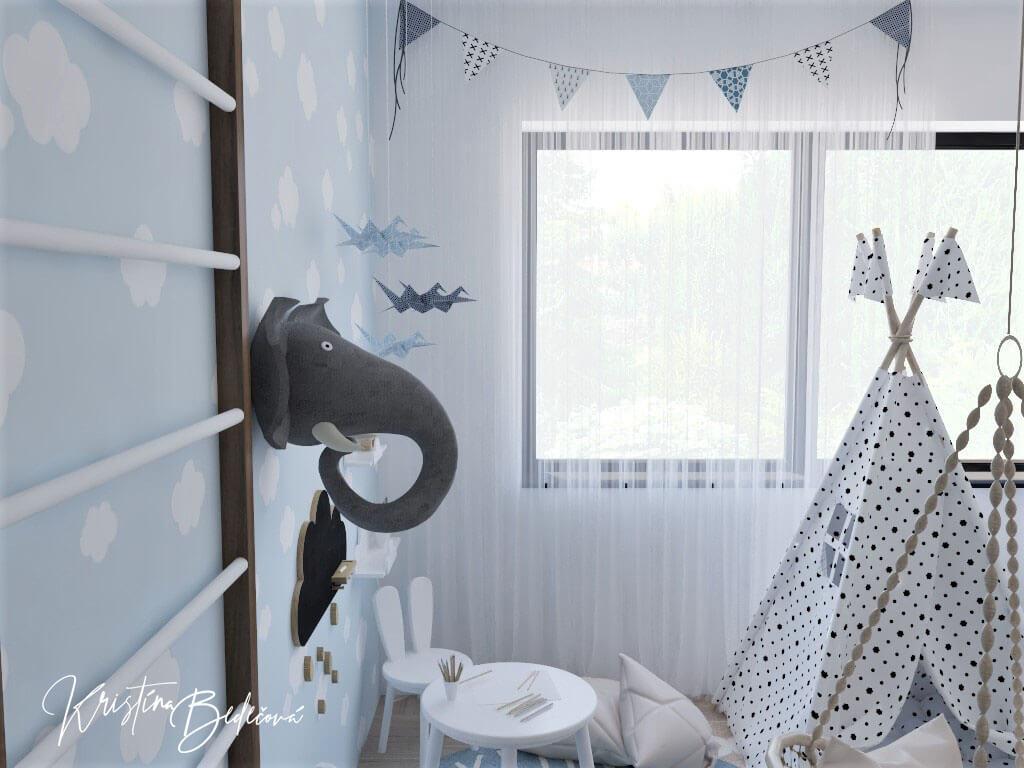 Vizualizácia detskej izby Detský svet, pohľad zvrchu na dekoráciu