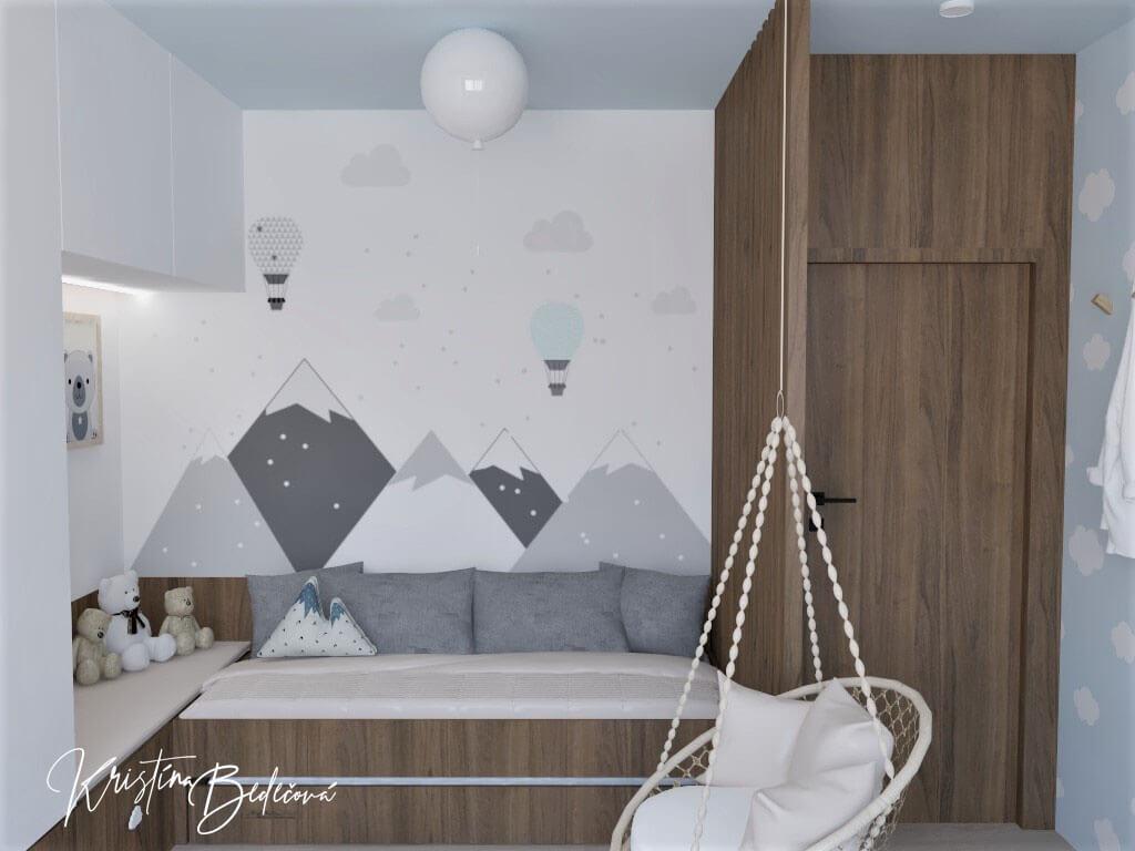 Vizualizácia detskej izby Detský svet, pohľad zvrchu na dekoráciu steny za posteľov