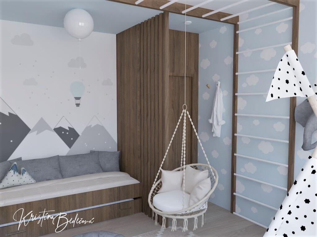 Vizualizácia detskej izby Detský svet, pohľad zvrchu na vchod a rebriny