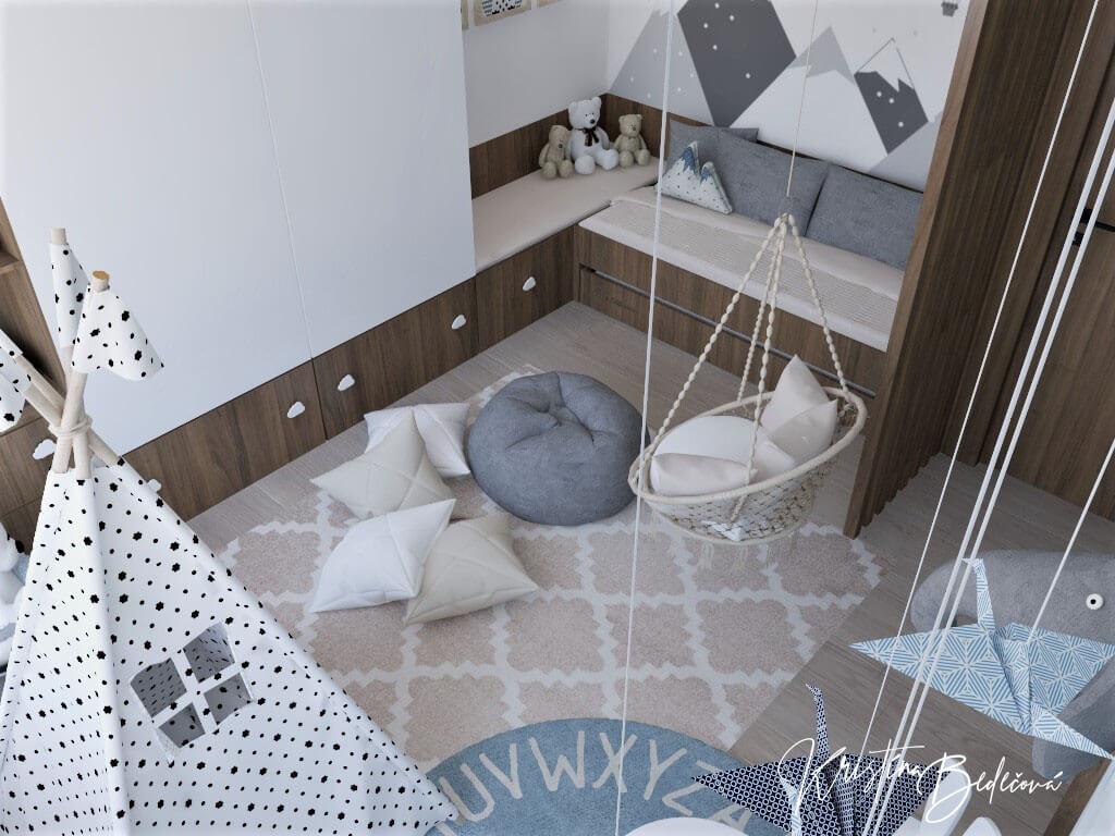 Vizualizácia detskej izby Detský svet, pohľad zvrchu na izbu z druhéhorohu